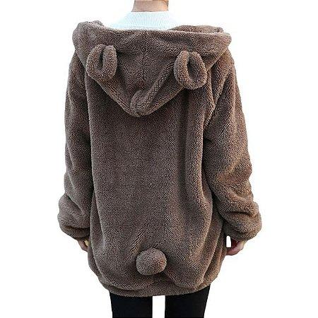 casaco em pelúcia bear PRETO