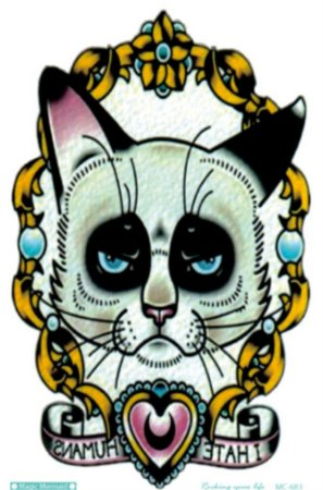 tatuagem temporária gato oldschool - hate humans