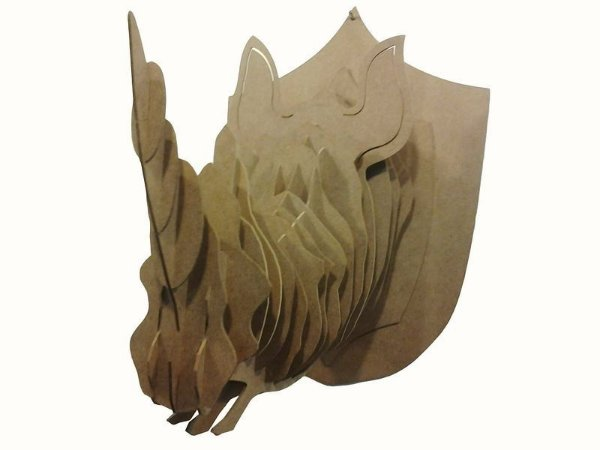 cabeça decorativa rinoceronte