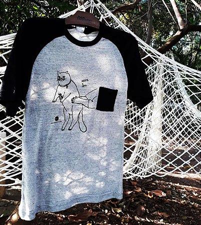 camiseta gato gorducho raglan
