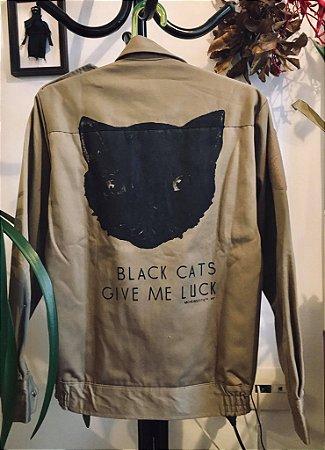 casaco em sarja gato preto tam P