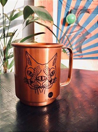 caneca alumínio bronze gato espelhado