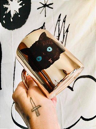 caneca cromada gato preto