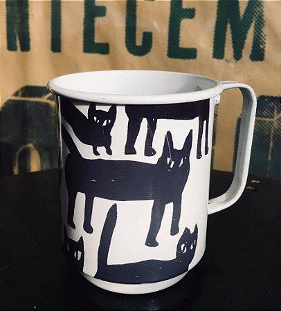 Caneca alumínio esmaltado gatos molinhos