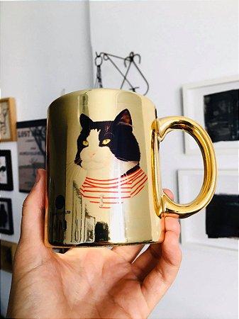 caneca cromada gatos adote