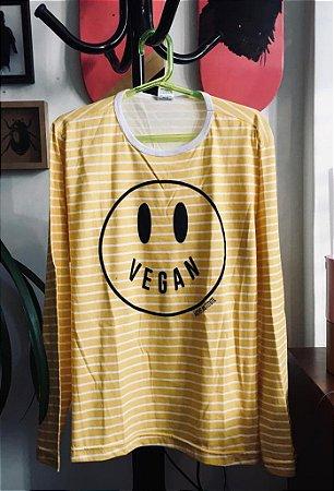 camiseta listrada manga longa happy vegan