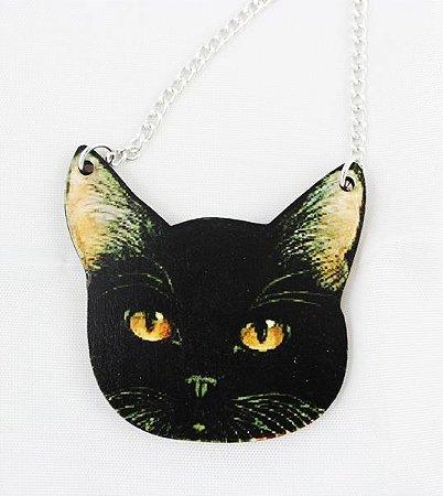 colar em madeira gato preto