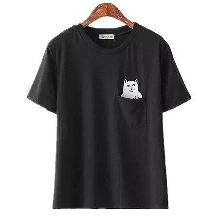 camiseta funny cat tamanho P