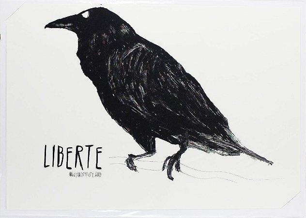 gravura em serigrafia corvo
