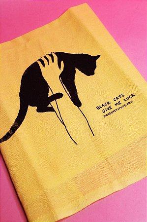 pano de prato gato preto