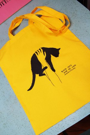 ecobag algodão amarelo gato preto