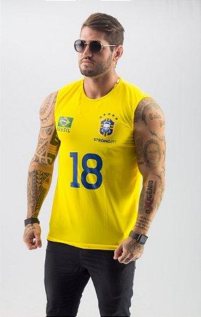 REGATA MACHÃO BRASÃO18 AMARELA
