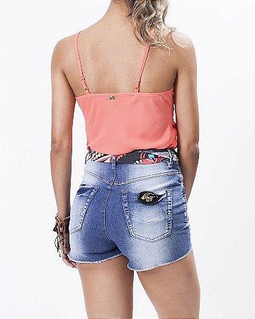 Short Jeans Cintura Alta com Lenço