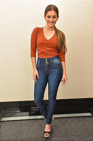 Calça Cigarrete Jeans Cropped Elastec Cintura