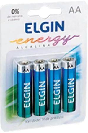 Cartela Com 4 Pilhas Alcalinas Aa Lr6 1,5v Elgin C/ Garantia