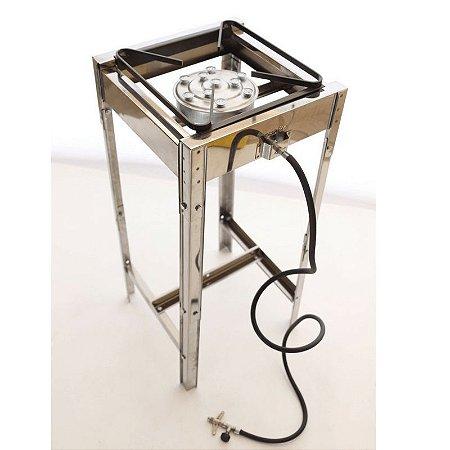 Fogão inox industrial de 1 boca com pés desmontável e kit gás completo