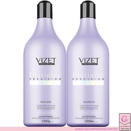 Platinize Precision Shampoo e Máscara Vizet Profissional