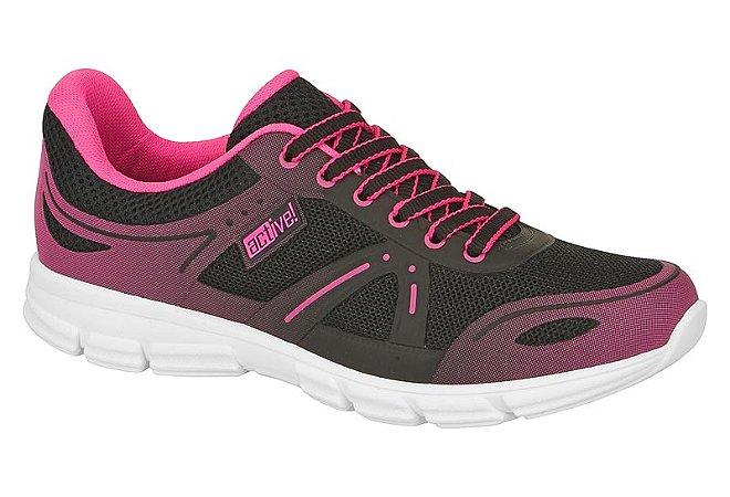 tenis esportivo beira rio feminino solado esportivo preto e rosa - 4212100-preto