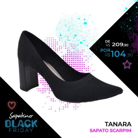Scarpim Tanara em malha preto - T2406