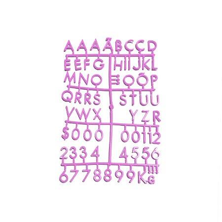 Cartela Extra de Letras - Cor Rosa