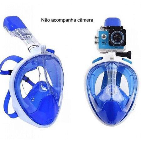 Máscara Full Face Com Adaptador Para Gopro Azul - Cetus