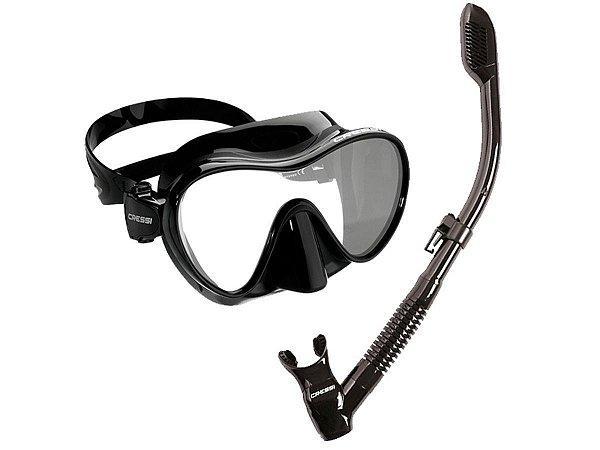 Kit Frameless 1 Máscara de mergulho, 1 Snorkel e 1 Sacola Silicone Preto - Cressi