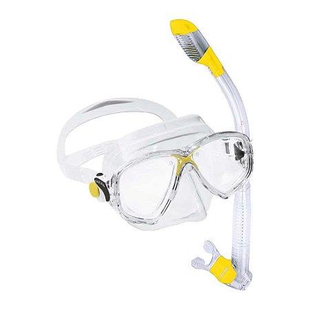 Kit Marea 1 Máscara de mergulho, 1 Snorkel e 1 Sacola Silicone Amarelo/Transparente - Cressi