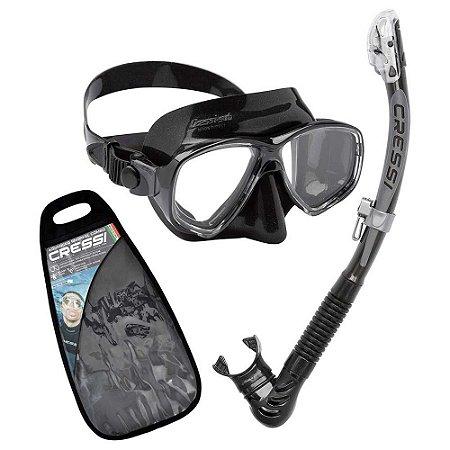 Kit Marea 1 Máscara de mergulho, 1 Snorkel e 1 Sacola Silicone Preto - Cressi