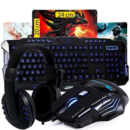 Kit Gamer Teclado + Mouse Usb + Fone Headset + Mousepad K35
