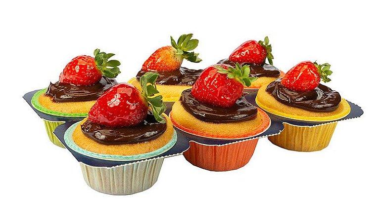 Forminhas forneáveis-Muffins - Color -3 Bandejas com 24UN - R$ 18,80 Unitário