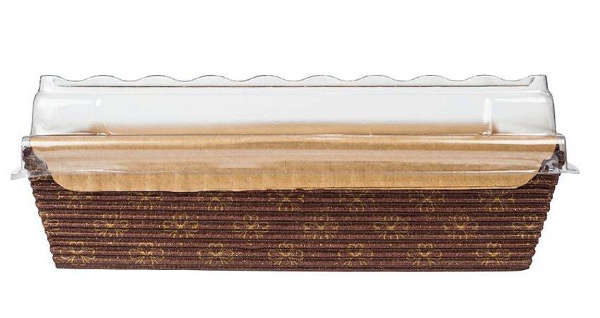 Forma Bolo Inglês com Abas c/ TAMPA -  Forneavél - Decorada 250g  - 10UN - R$ 2,19 - Unitário