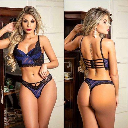 Conjunto Lingerie Sexy Cropped Strappy Renda Com Bojo Azul Marinho Garota Veneno