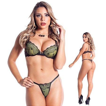 Conjunto Lingerie Sexy Com Bojo Em Renda Preto Verde Malva Sapeka