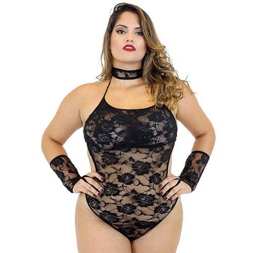 Fantasia Pantera Negra Plus Size Sexy Feminina Body Preto Mil Toques