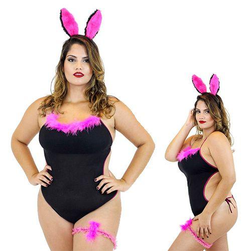 Fantasia Coelhinha Plus Size Sexy Feminina Body Preto Mil Toques