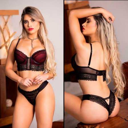 Conjunto Lingerie Sexy Cropped Bojo Soft Em Tule E Renda Preta Garota Veneno