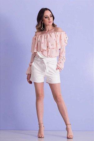 Shorts Clochard em couro eco white