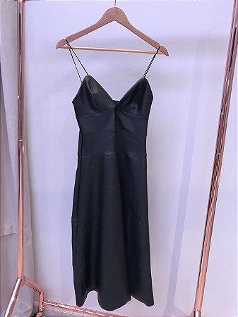 Vestido Alcinha em Couro eco liso Black