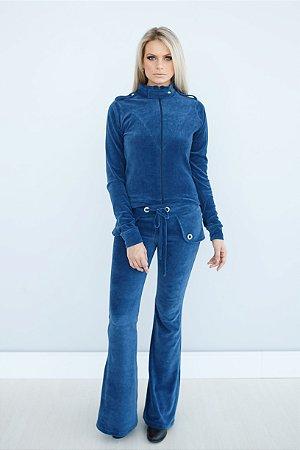 Jaqueta em Plush azul