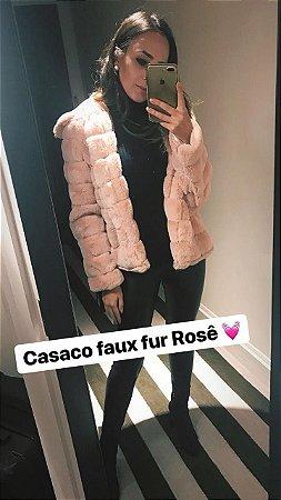 Casaco Pele Fake Rose