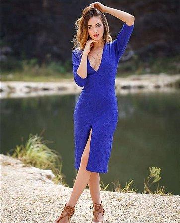 Vestido Jacquard Azul - Marca: Gypsyl