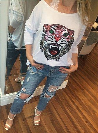 Blusa ampla TIGER em paetês branca