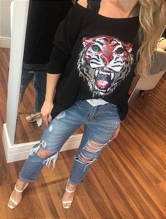 Blusa ampla TIGER em paetês preta