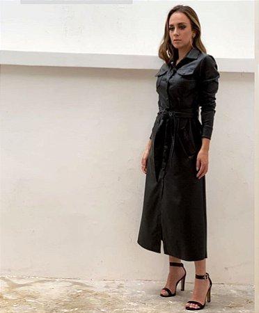 chemise em couro eco black