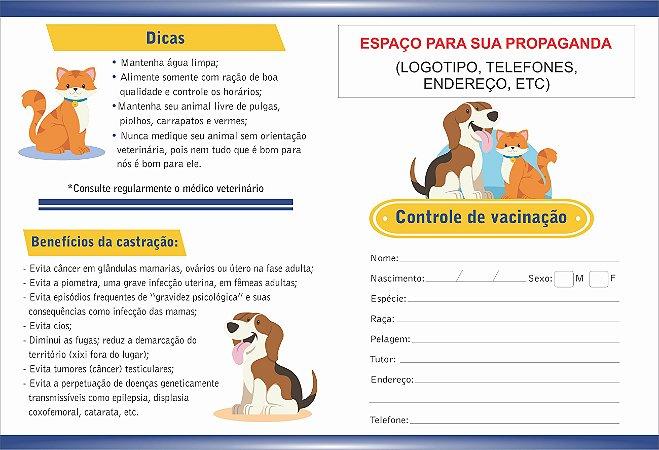 Carteirinha de Vacinação/orientações Pet Personalizada 100 Unid
