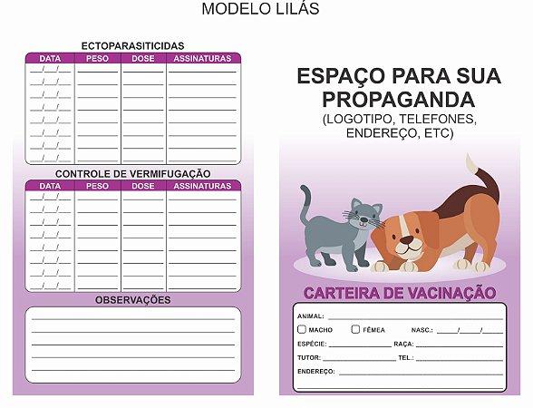 Carteirinha Vacinação/vermífugos Pet Personalizada