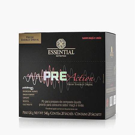 PRE-ACTION ENERGY DRINK MAÇÃ E LIMÃO 540g - Box c/ 20 sachês de 27g - Essential Nutrition
