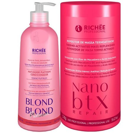 Kit Matizador Platinum Blond e Nanobotox Richée Professional