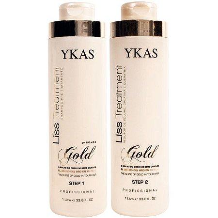 Escova Progressiva Ykas Kit Ouro Shampoo e Ativo 2X1000ml