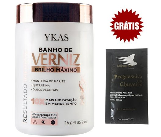 Máscara Banho de Verniz Ykas Brilho Máximo 1Kg
